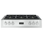 Gas Rangetop F6GRT366S1 Dual-Flame 20,000 BTUs Crescendo Power Burners 36in -Fulgor Milano