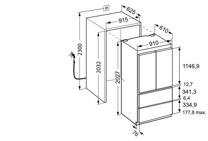 Bottom Freezer Refrigerator HCB2080 36in -Liebherr